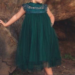 Trish Scully emerald green size 7 tulle dress